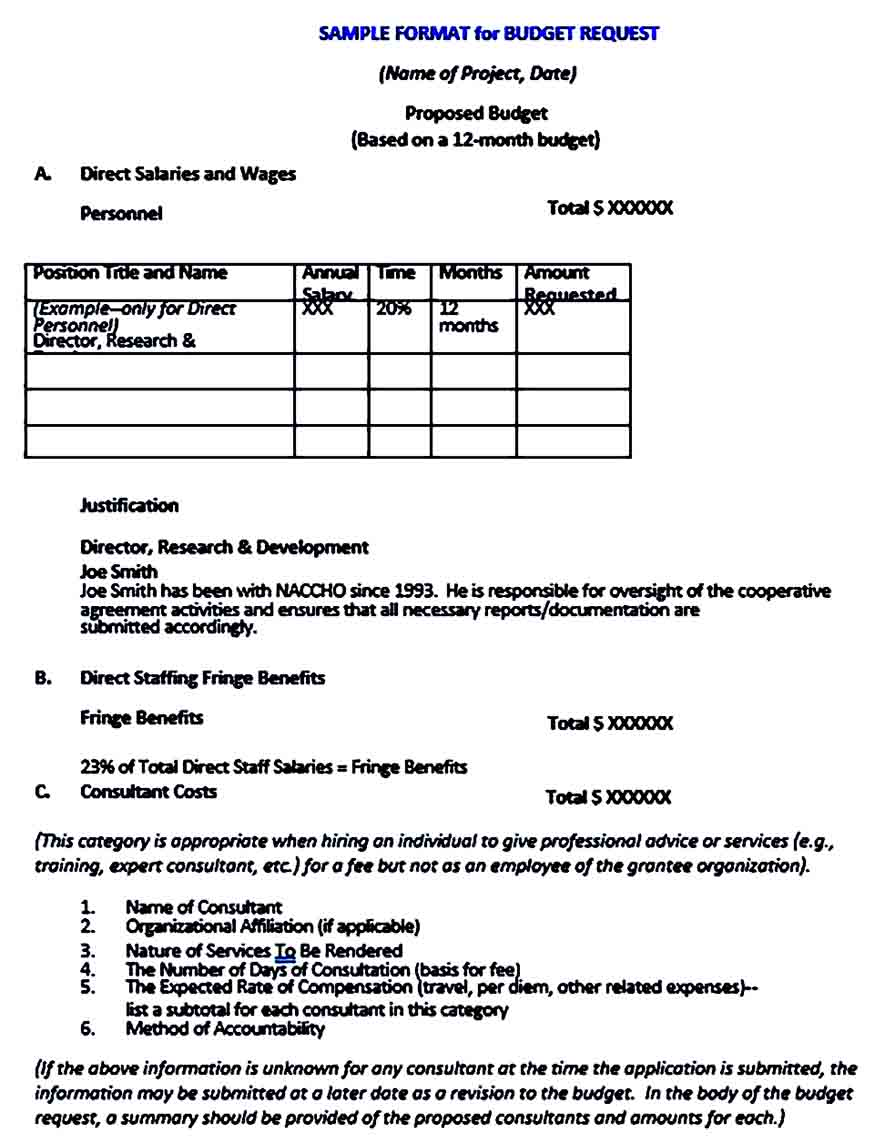Sample Mentorship Project Budget Proposal