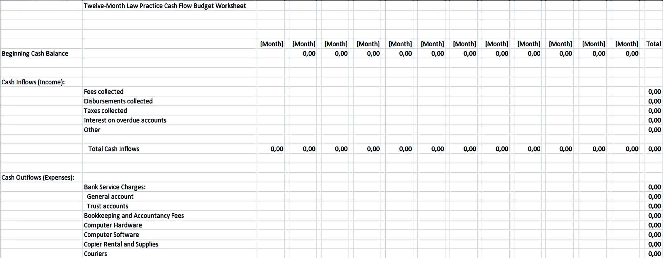 Sample Month Law Practice Cash Flow Budget Worksheet