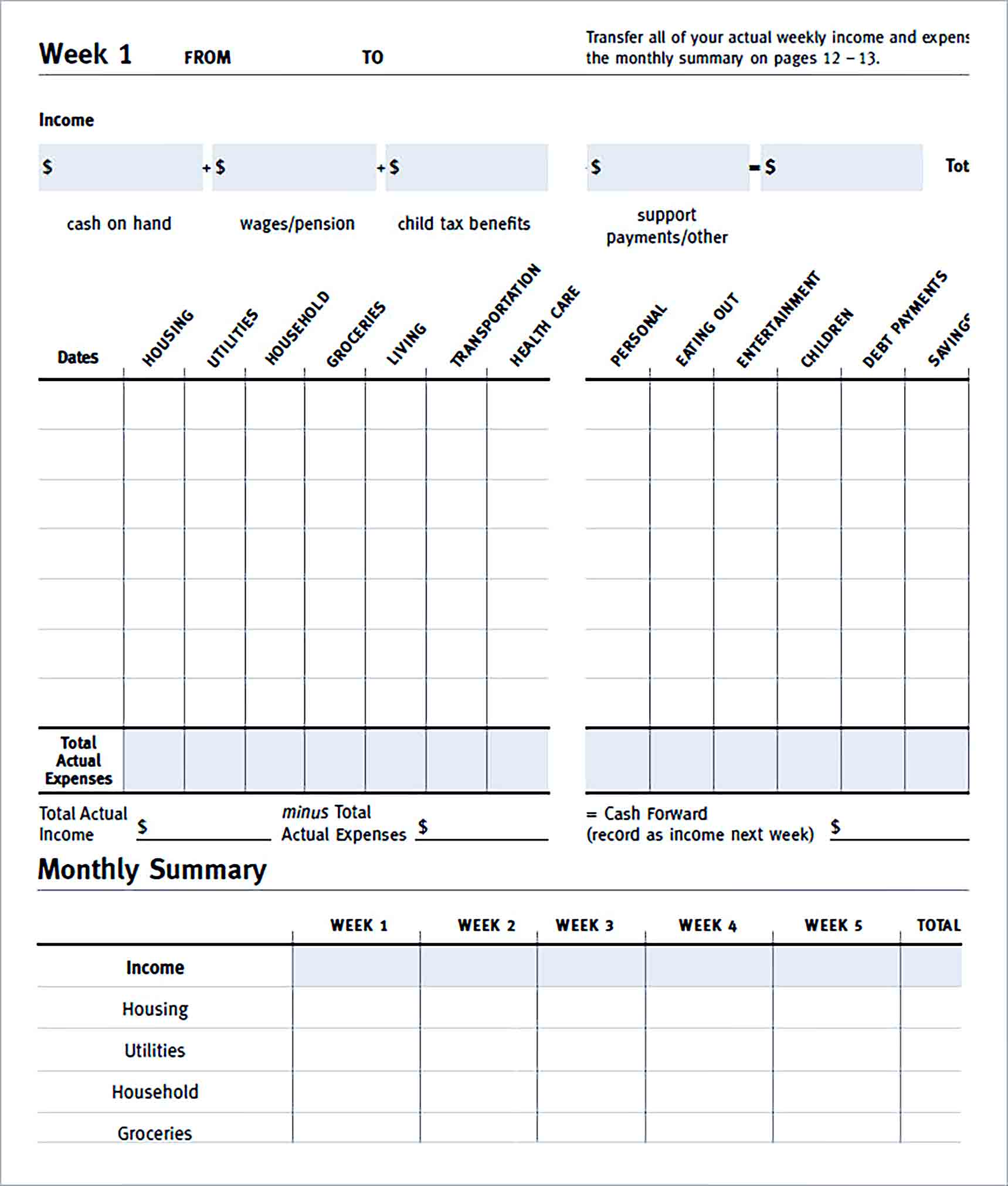 Sample Monthly Expences Budget Tracker