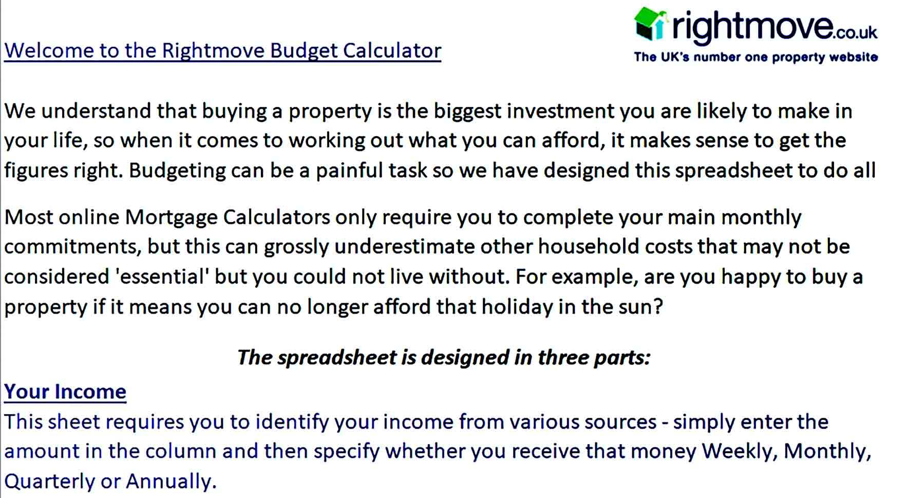 Sample Mortage Montly Budget