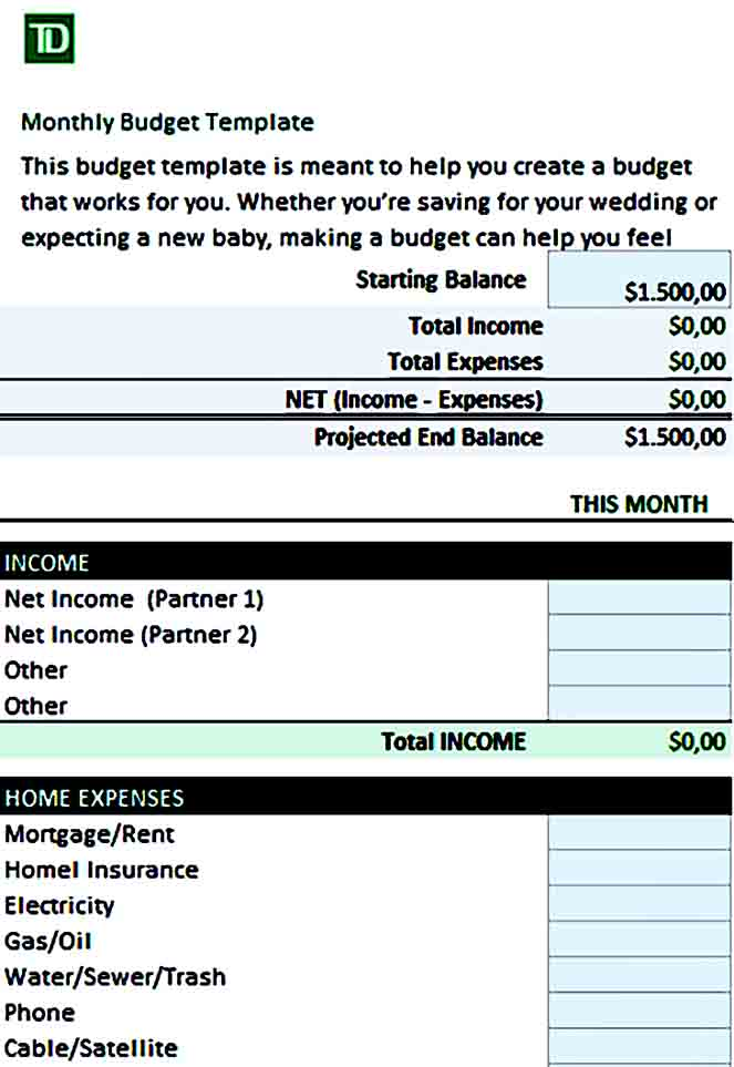 Sample Personal Yearly Budget