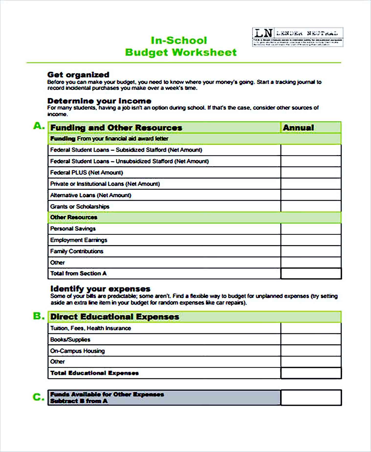 Sample School Budget Worksheet1