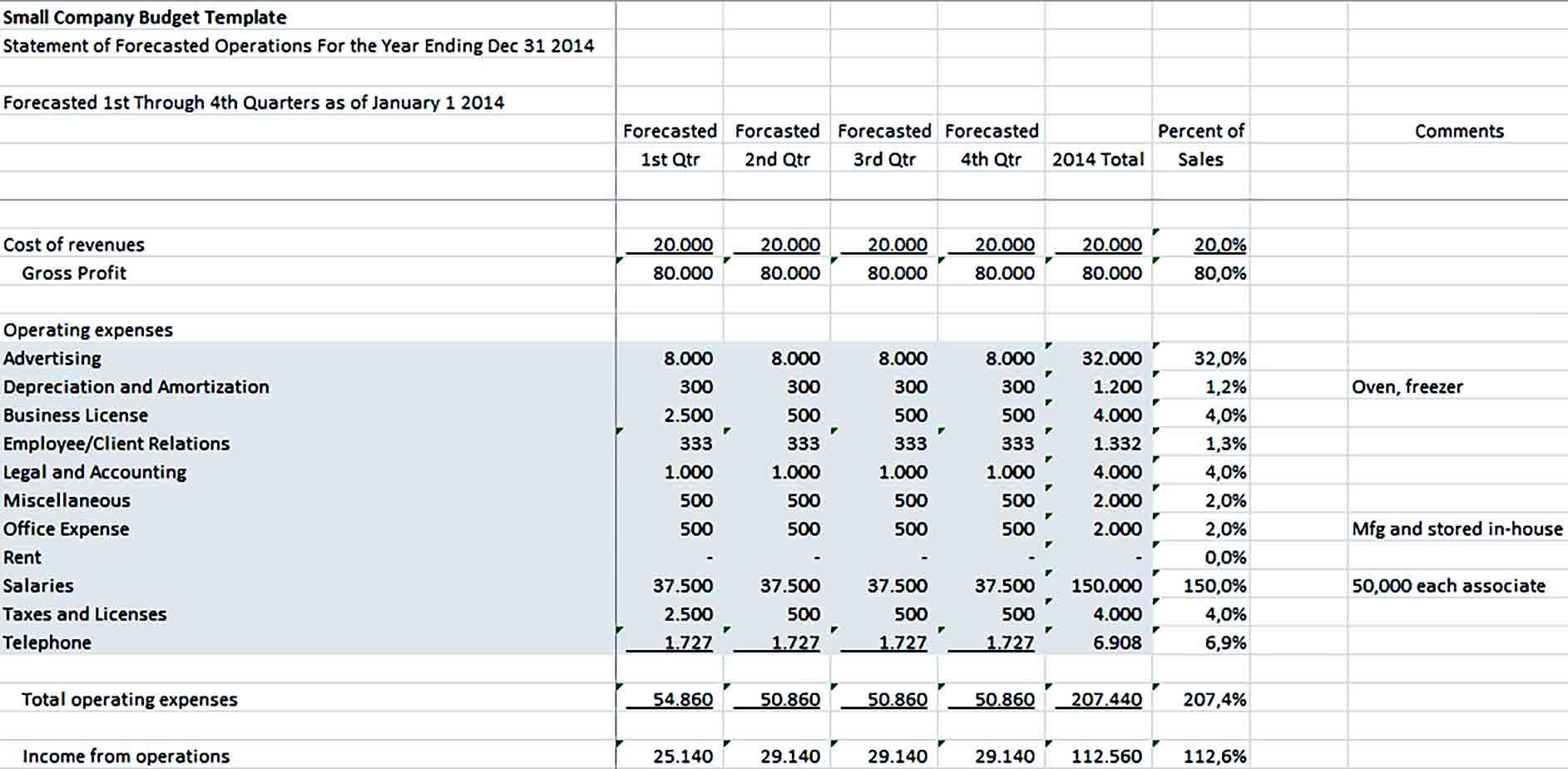 Sample Small Company Budget 1 1