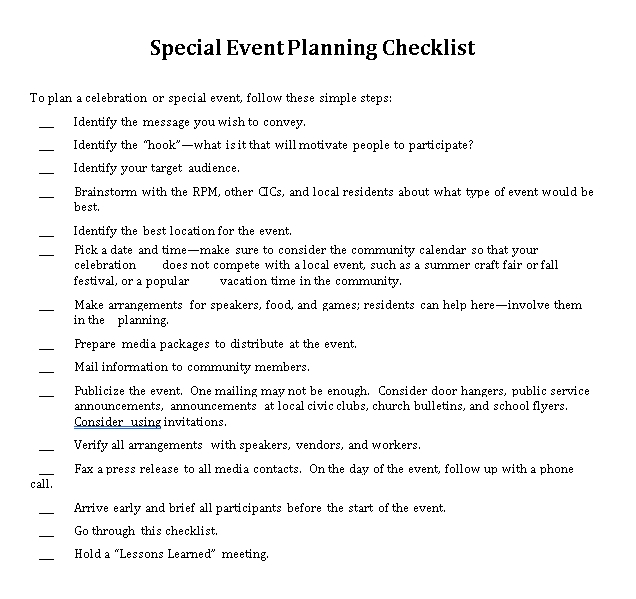 Sample Special Event Planning Checklist
