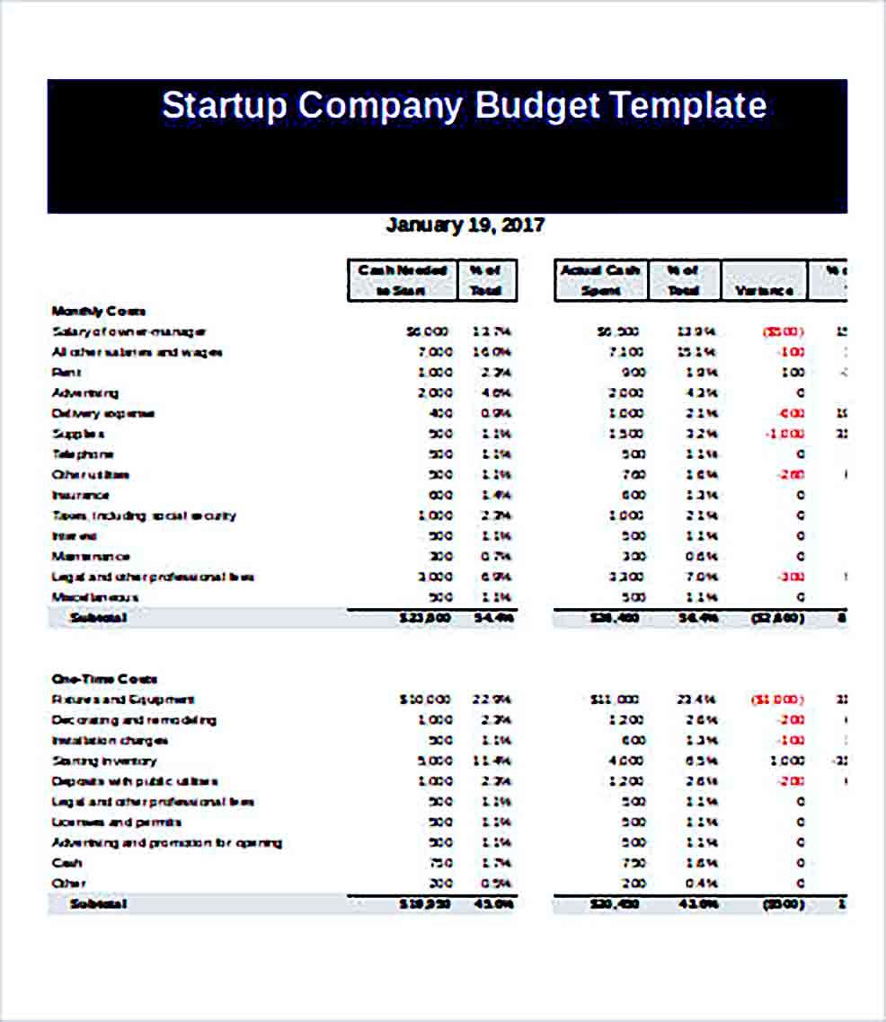 Sample Startup Company Budget