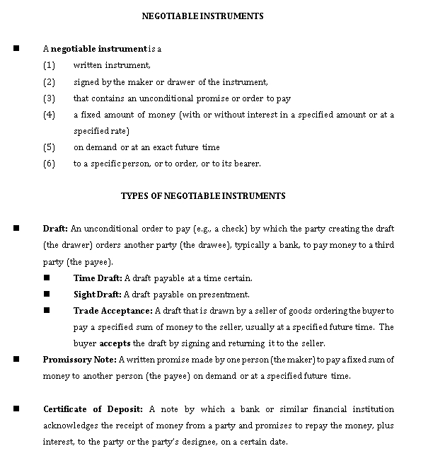 Sample Template 24 negotiable instruments