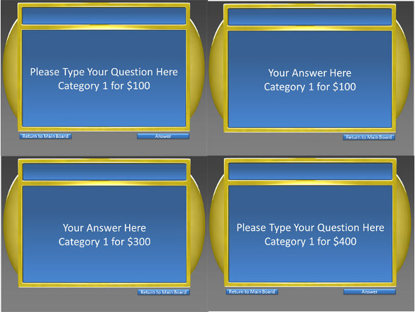 Sample Template 6 Category Question Jeopardy Keynote