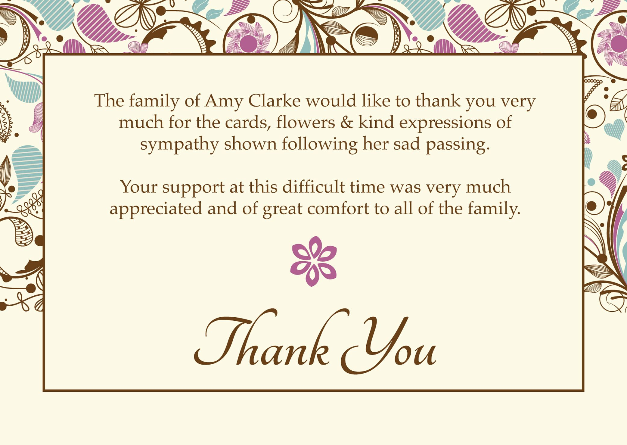 Sample Template Bereavement Thank You Note s