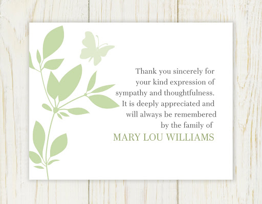 Sample Template Bereavement Thank You Note s2