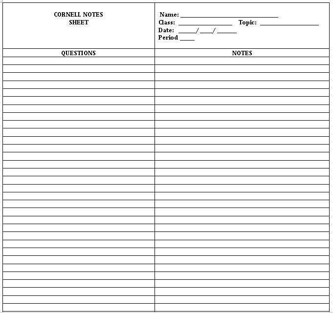 Sample Template Blank CORNELL NOTES SHEET
