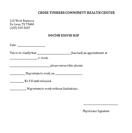 Sample Template Blank Doctors Excuse Slip Note for Work