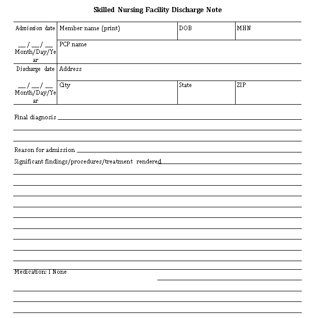 Sample Template Discharge Note