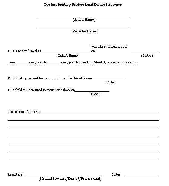Sample Template Doctor Excuse Note For School