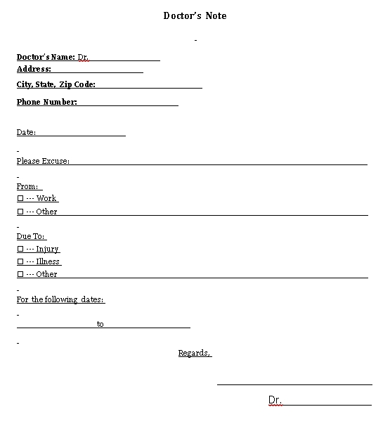 Sample Template Doctors Note 002