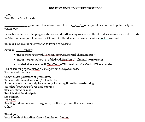 Sample Template Doctors Note for Student