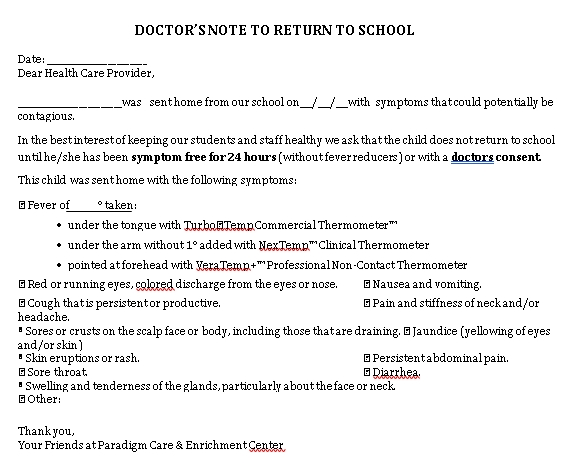 Sample Template Doctors Note to Return to School