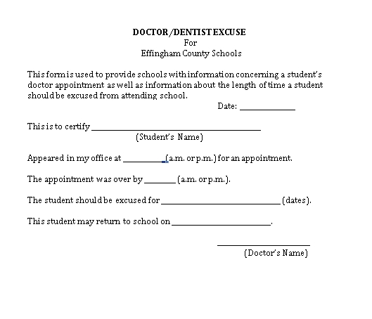 Sample Template Doctors Notes For Missing School