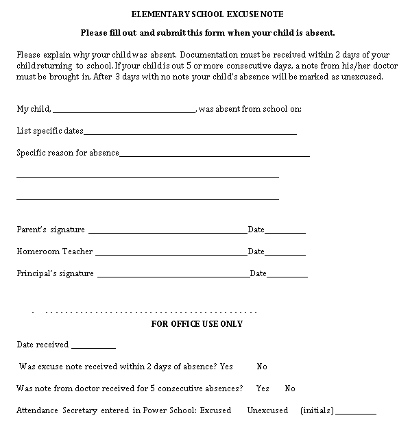 Sample Template Elementary School Excuse Note