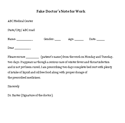 Sample Template Fake Doctors Note for Work Word