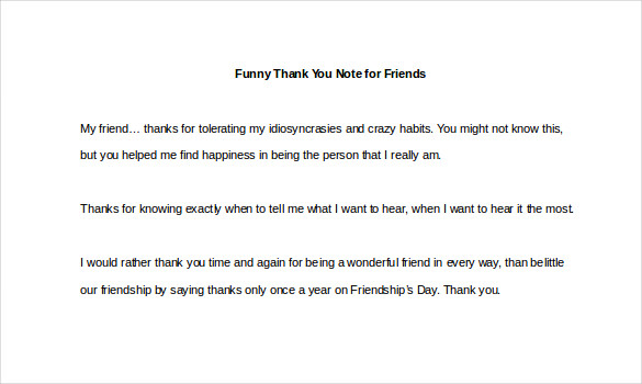 Sample Template Funny Thank You Note for Friends2