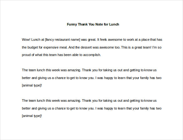 Sample Template Funny Thank You Note for Lunch3