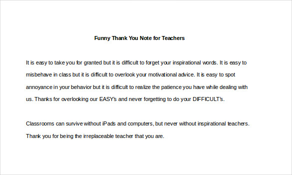 Sample Template Funny Thank You Note for Teachers1