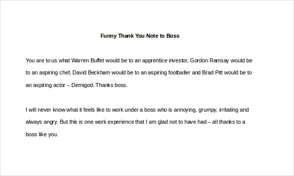 Sample Template Funny Thank You Note to Boss1