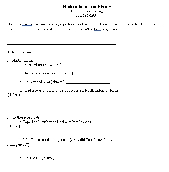Sample Template Guided Note for History