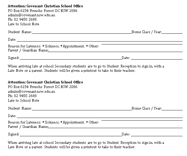 Sample Template Late Note to School