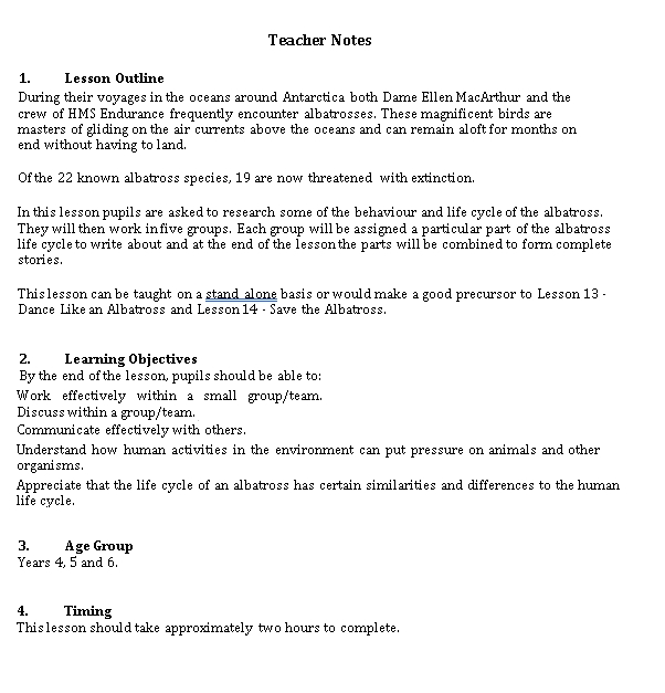 Sample Template Lesson Notes