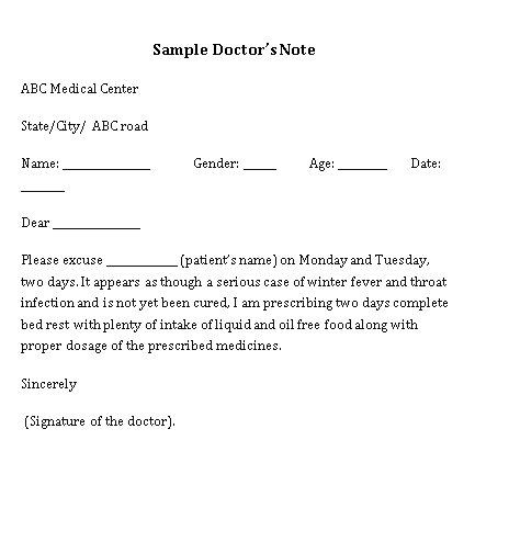 Sample Template Medical Doctor Note for College Student Word