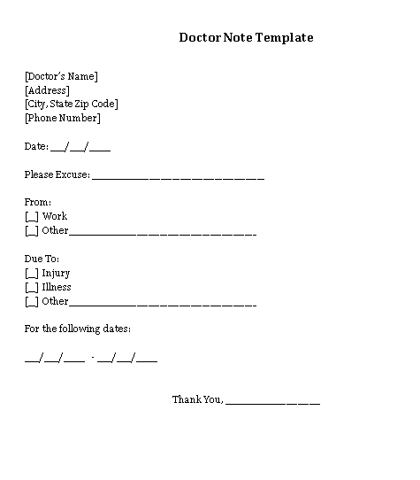Sample Template Medical Doctor Note for Employe Word