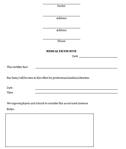 Sample Template Medical Doctors Excuse Note MS Word
