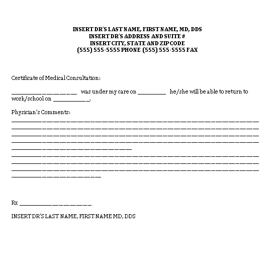 Sample Template Medical Doctors Note for Childrens Word