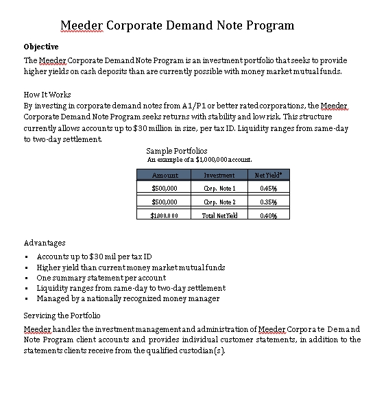 Sample Template Meeder Corporate Demand Note