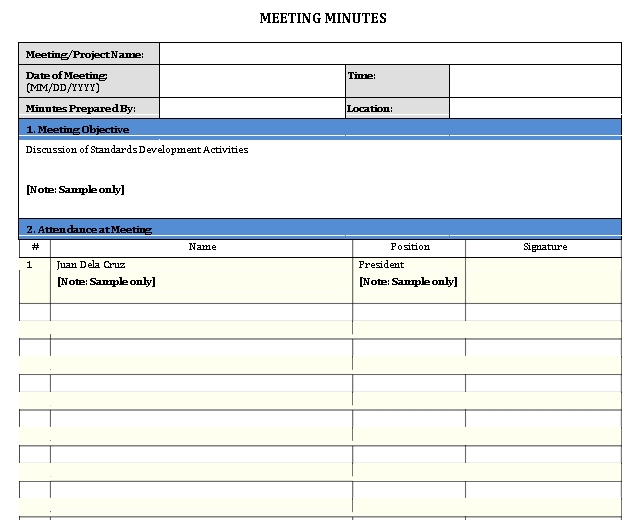 Sample Template Meeting Minute Notes