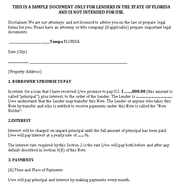 Sample Template Mortgage Promissory Note Form