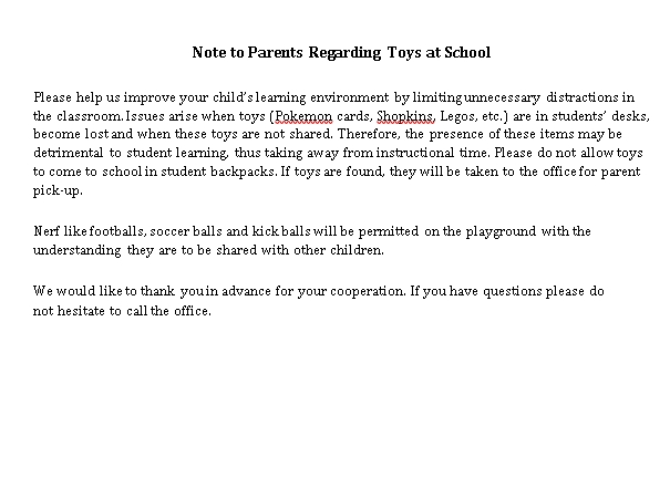 Sample Template Note Regarding Toys at School