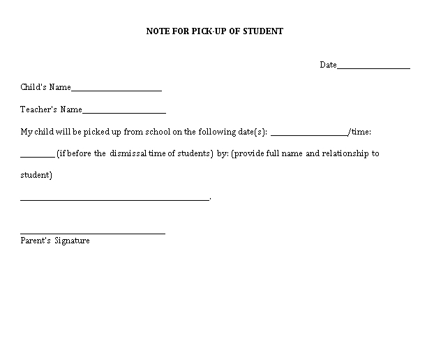 Sample Template Note to Student Pickup