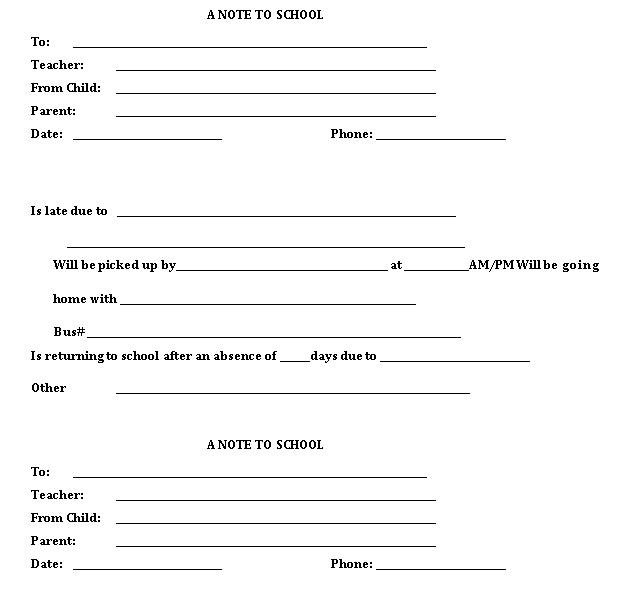 Sample Template Parent Note to School