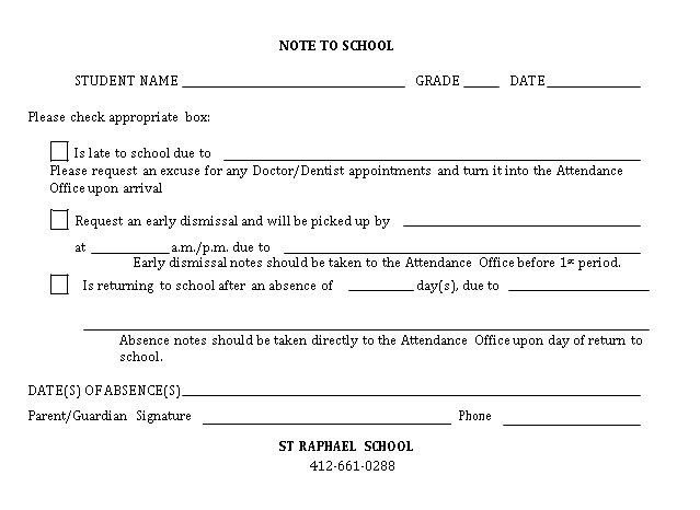Sample Template Printable Note To School