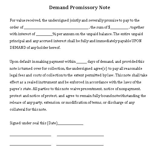 Sample Template Promissory Demand Note Word