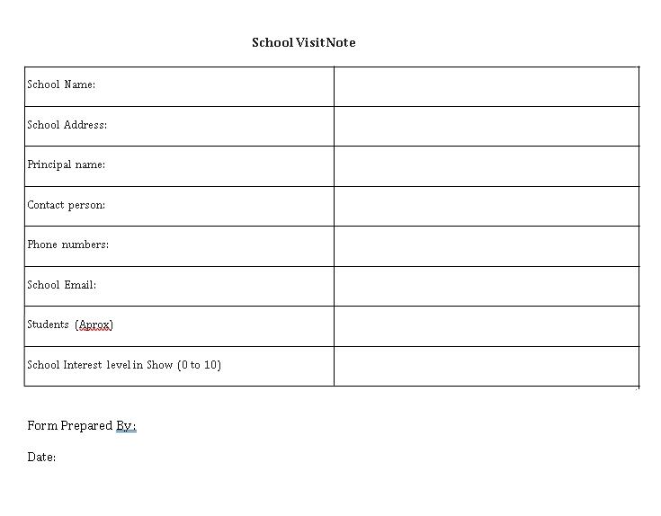 Sample Template School Visit Note