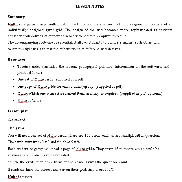 Sample Template Simple Lesson Notes