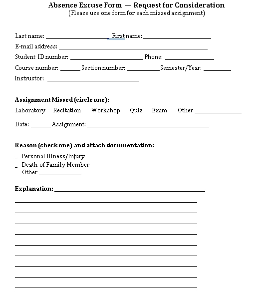 Sample Template Student Doctors Note Format