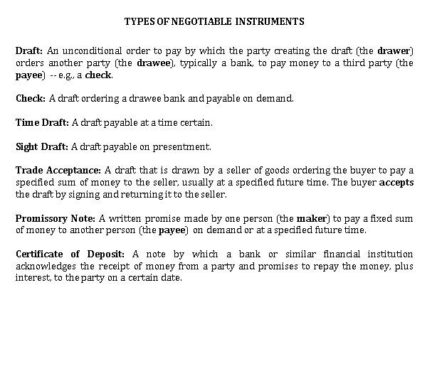 Sample Template TYPES OF NEGOTIABLE INSTRUMENTS