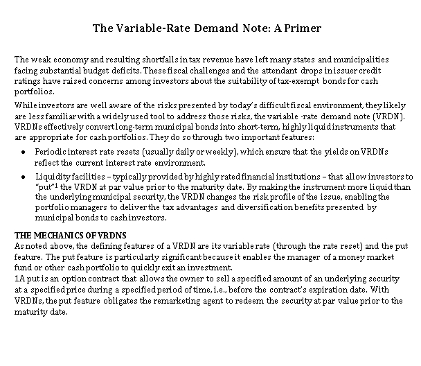 Sample Template Variable Rate Demand Note