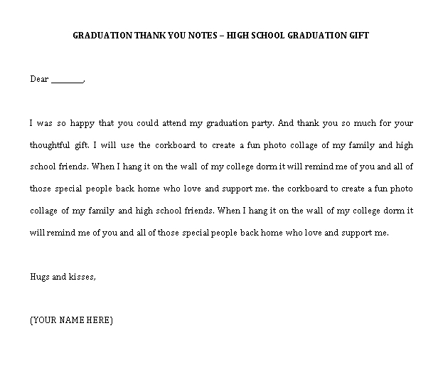 Sample Template best graduation thank you note