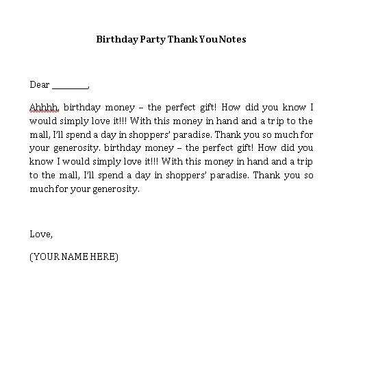 Sample Template birthday party thank you notes