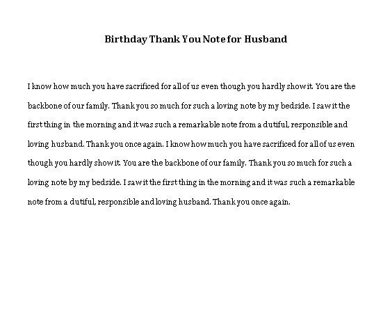 Sample Template birthday thank you note for husband